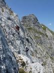 Alpspitze Nordwand, zwei Münchener Kletterer im KG-Weg, III+