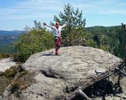 Auf dem Gipfel des Heringsteins nach einer herrlichen Mehrseillängenbergfahrt mit Wiese
