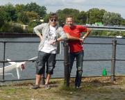 Gemeinsam mit ax nach Beendigung des Sreeradweges an der Mündung der Spree in die Havel in Berlin-Spandau