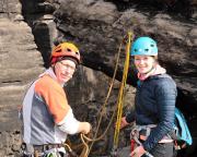 Erster Klettertag 2018 im sonnigen März, hier auf der Narrenkappe am Gohrisch