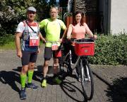 Start zum Marathon bei Rennsteigläufer@Home mit Almuth als mobilem VP