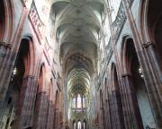 Blick in das beeindruckende Kreuzgewölbe des Hauptschiffes im Veitsdom