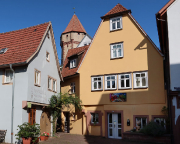 Blick vom Malerwinkel zum Spitzen Turm von Wertheim