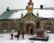 Erster Stopp im polnischen Orle, hier sind wir im Schneegestöber angekommen