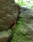 Miltitzer Frosch, perfekt gelegte Knotenschlinge im Riss am Alten Weg