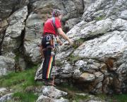 Volker am Einstieg von Castor und Pullox - natürlich im Jeschkengebirge