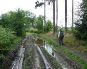 Die Regenfälle des Vortages haben den Weg teilweise in Modder verwandelt