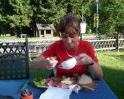 In Siegmundsburg in einem herrlichen Restaurant - den ganzen Tag zu wandern macht (verdient) hungrig!