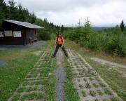 Christiane steht auf dem alten Fahrweg der Grenztruppen. Der Grenzstreifen selbst ist ein einmalig schönes Biotop geworden.