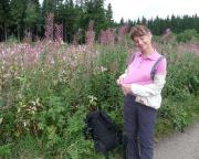 Eine Frau eben: hier passend angekleidet zur Blütenfarbe der Landschaft.