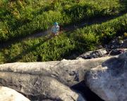 Blick aus dem Alten Weg am Mittelstein auf meine Sicherungsfrau