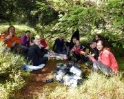 Am Zielort, den Schneetürmchen, gab es erst einmal ein Picknick auf 1000 hm