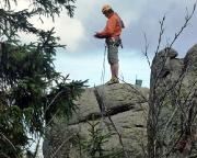 Hurra, oben, es gibt ein Gipfelbuch, aber keine Abseilöse