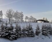 Blick aus dem Hotelfenster am Sonntagmorgen, ein toller Wintertag kündigt sich an