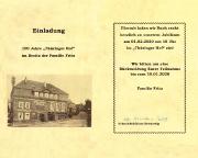 Unsere Einladung zum Jubiläum 100 Jahre Thüringer Hof Schmiedefeld