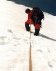 Eiswandbichl Nordwand - Thomas beginnt den Vorstieg der zweiten Seillänge
