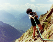 Maria in einer der versicherten Passagen am Gipfelaufschwung