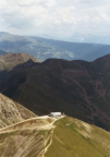 Blick beim Gipfelanstieg zurück auf das Schutzhaus Kuhleiten
