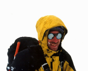 Auf dem Rückweg war Zeit für ein Portrait im Schneegestöber