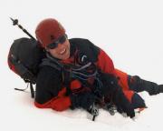 Johannisberg Nordwand - Thomas erreicht den Gipfelgrat