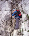 Alpspitz-Ferrata - im nicht zu verfehlenden Einstieg des Klettersteiges