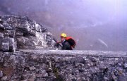 Auf dem Rotstock-Klettersteig - schnell gewinnt man an Höhe