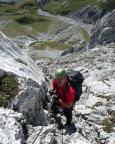 Bei Abstieg trifft man mitunter auch auf drahtseilversicherte Passagen