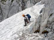 Unangenehme Schneefelder im Abstieg über die Alpspitz-Ferrata.