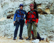 Mit Thomas Herrmann vor Begehung der Via delle Guide Juli 2005
