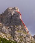 Grober Routenverlauf der Südkante am Kleinen Falzaregoturm