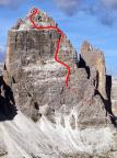 Der grobe Routenverlauf des Normalweges an der Großen Zinne