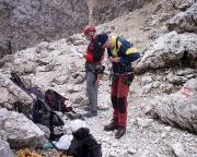 Il Gobbe, Nordwand - Vorbereitung für die Route Fantin Vecellio