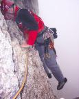 Il Gobbe, Nordwand, wechsel von der Wand- in die Kaminkletterei