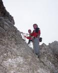 Il Gobbo Nordwand - letzter Standplatz auf dem Gipfelgrat
