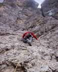 Il Gobbo Nordwand - Thomas in der ersten Seillänge zum Fuß des Kamins