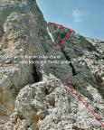 Il Gobbo Nordwand – Verlauf der Route Fantin/Vecellio
