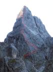 Cusiglio – Verlauf der Route über die Nordwestkante