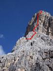 Der grobe Tourenverlauf am Südwestpfeiler in den oberen Seillängen