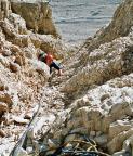 Paternkofel Nordnordwestgrat, erste Seillänge, das Geröll ist haarsträubend