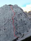 Der grobe Routenverlauf über den Südwestpfeiler am Predigtstuhl