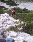 Gelegentliche Latschen stören den weiteren Klettergenuss nicht