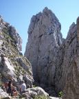 Zustieg zu unserer Kletterroute in der Scharte zum Roßstein