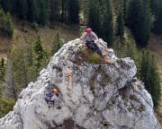 Schlüsselstelle - Abstieg vom Gratturm in die Scharte zum Gipfel