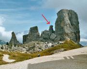 Torre Barancio - Blick auf den Turm in den Cinque Torri