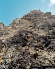 Finde den Vorsteiger in der Nordwand, Dibona, am Torre Barancio