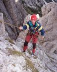 Torre Wundt, Mazzarone - Steffen in einer der vier Abseilen der 120-m-Abseilpiste