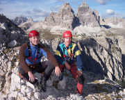 Thomas Herrmann, Steffen Große auf dem Gipfel vor den Südwänden der Drei Zinnen