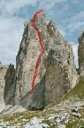 Die Routenführung der Südwand - Mazzorane - am Torre Wundt