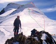 Der Hin- (rot) und Rückweg Nordostgrat ab Mittelaletschbiwak