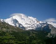 Blick auf den Gipfel der Jungfrau von Wengen